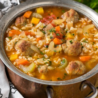 Alphabet noodle soup with turkey meatballs and vegetables.
