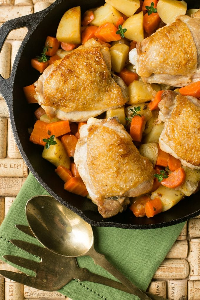 One Pot Braised Chicken Thighs with Carrots and Potatoes - Dinner at ...