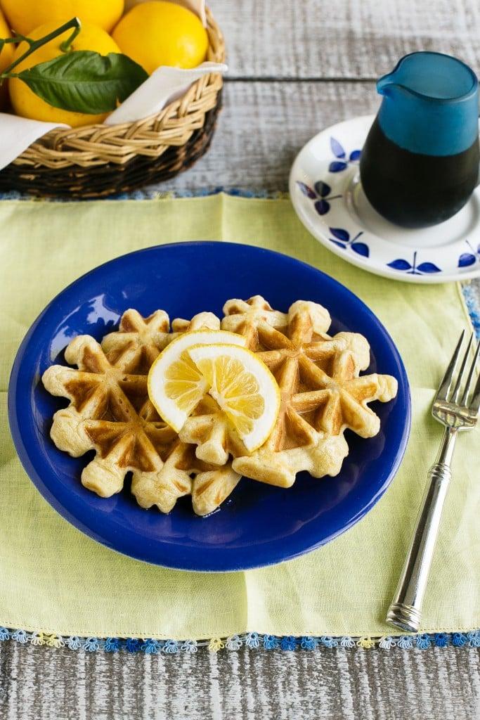 Lemon Sour Cream Waffles - Dinner at the Zoo