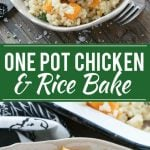 This One Pot Oven Chicken and Rice Bake combines chicken with creamy parmesan rice and butternut squash for a complete healthy meal with less dishes to clean.