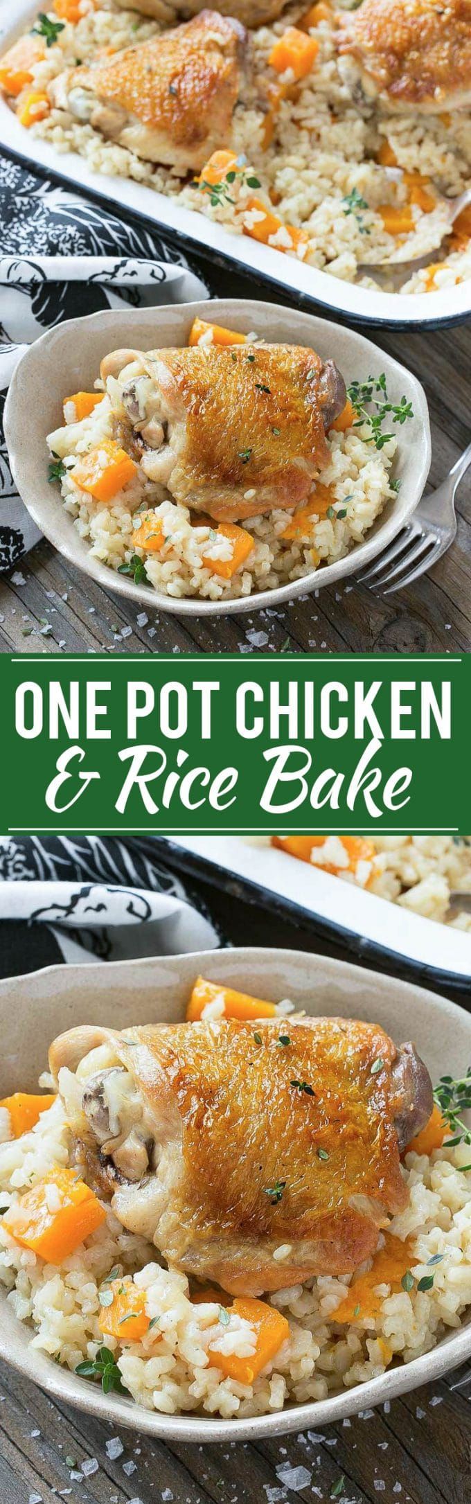One Pot Oven Chicken and Rice Bake Recipe | One Pot Chicken with Creamy Parmesan Rice | One Pot Chicken and Rice | Creamy Parmesan Rice | Chicken Rice and Butternut Squash Bake