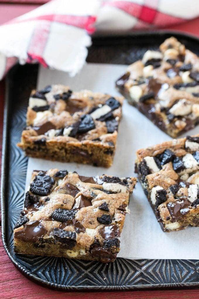 Oreo cookie bars on a sheet pan.