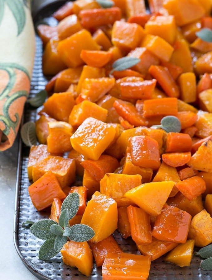 Oven Roasted Butternut Squash with Root Vegetables and Honey