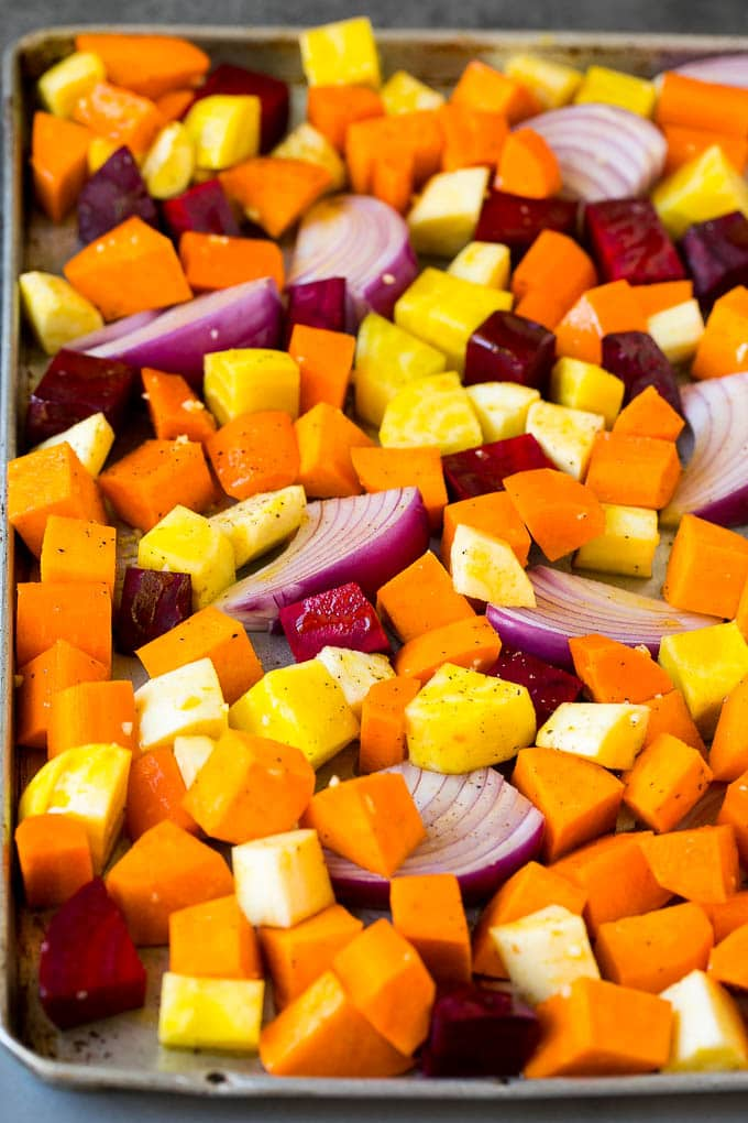 A mixture of root vegetables tossed with olive oil and garlic.