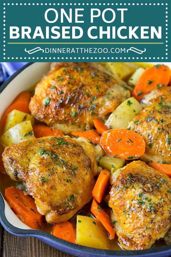 Braised Chicken with Carrots and Potatoes Recipe | One Pot Meal | Chicken with Potatoes #chicken #chickenthighs #onepot #potatoes #carrots #dinner #dinneratthezoo