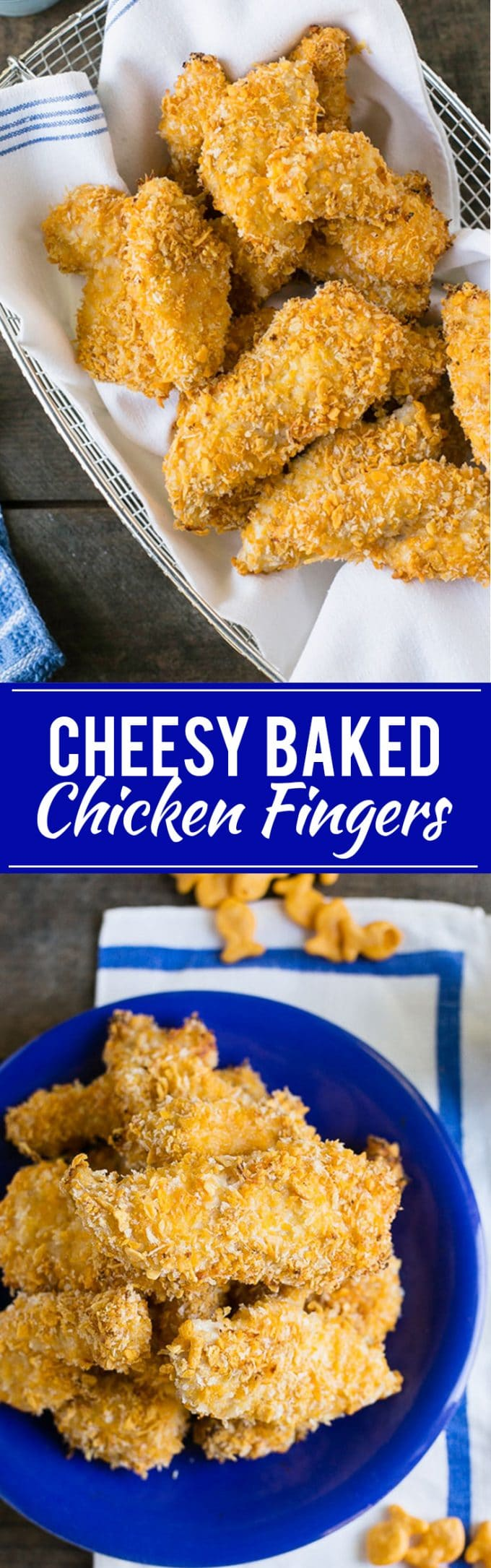 These cheesy baked chicken fingers are coated with your favorite cheddar crackers and baked to crispy perfection in the oven.