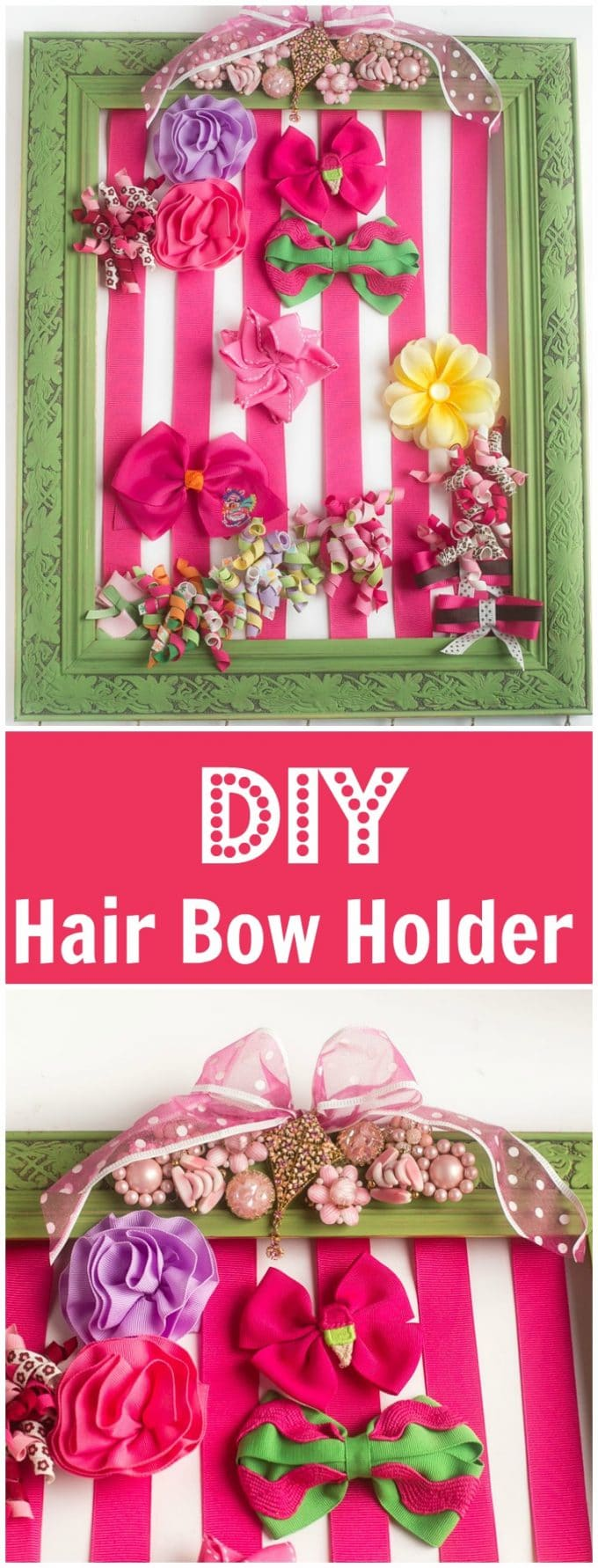 DIY Hair Bow Holder - Make your own hair bow holder for less than $20, hang it in your daughter's room or give it as a baby shower gift.