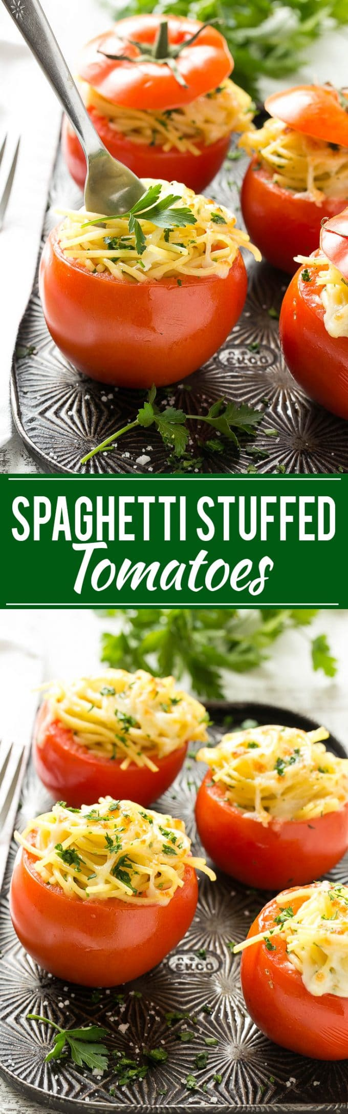 These baked stuffed tomatoes are full of spaghetti and topped with plenty of cheese. They're a fun and unique vegetarian side dish or main course!