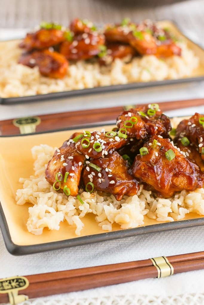 A healthier version of honey sesame chicken - baked not fried and way less sugar.