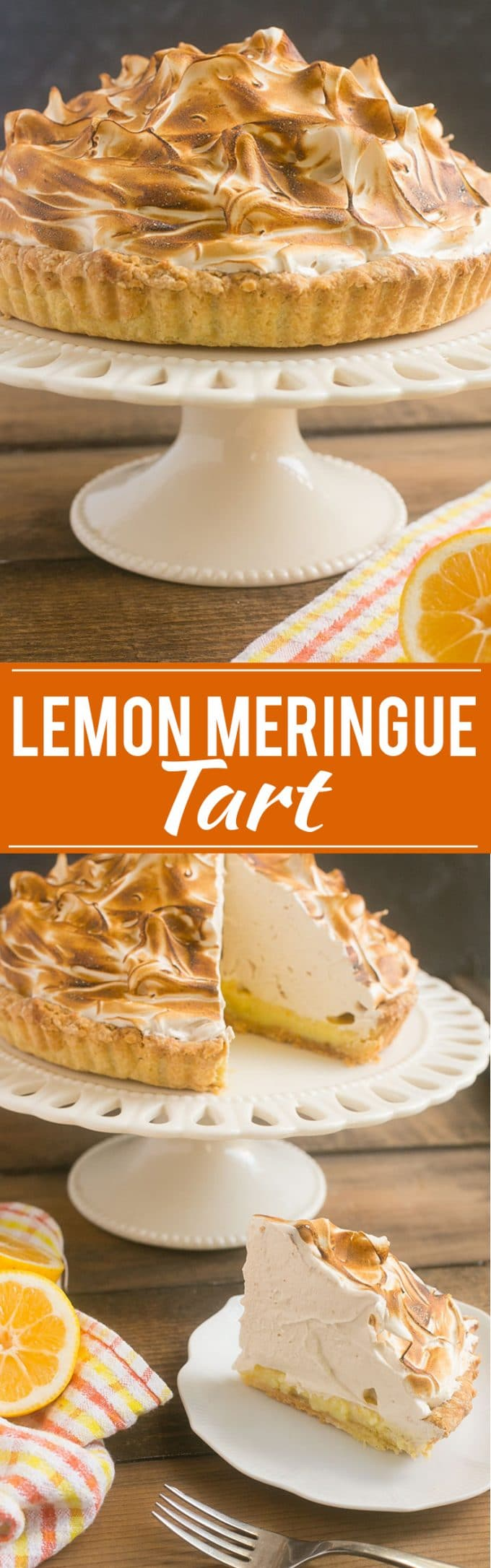 This lemon meringue tart is topped with a pile of toasted brown sugar meringue, it's a show stopping dessert that's perfect for a special occasion.