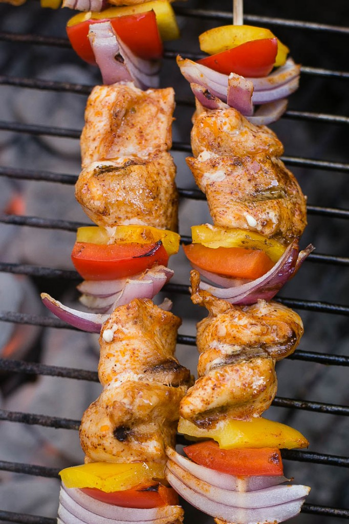 These grilled chicken fajitas on a stick with creamy cilantro dipping sauce make a great appetizer or main course.