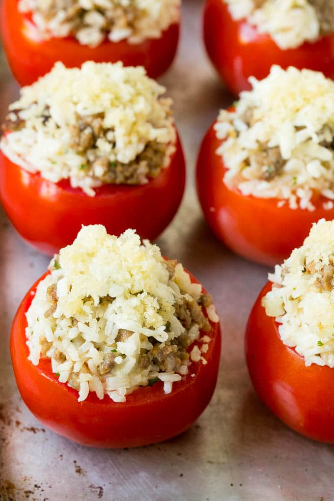 Tomatoes stuffed with a sausage rice mixture, topped with buttered breadcrumbs.