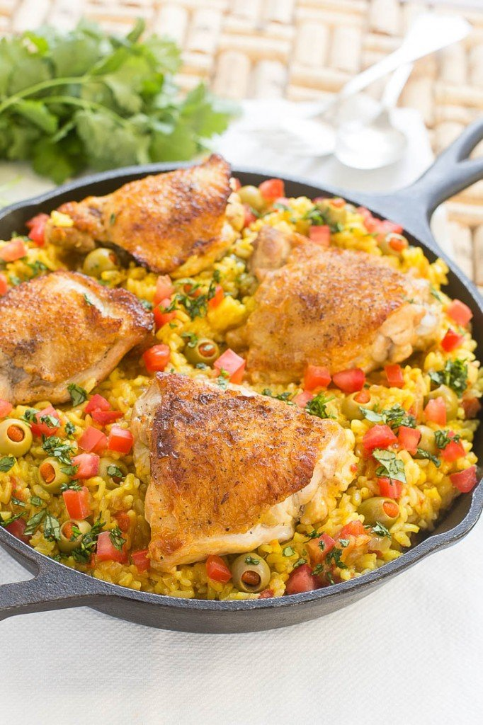 Spanish arroz con pollo chicken with rice dinner at the zoo - Arroz salteado con pollo ...