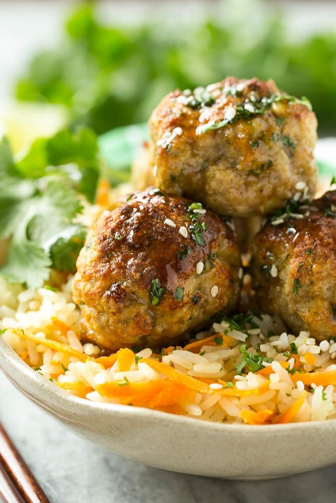 Asian Turkey Meatballs & Carrot Rice - Dinner at the Zoo