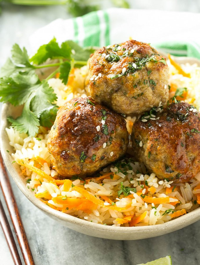 Asian Turkey Meatballs & Carrot Rice