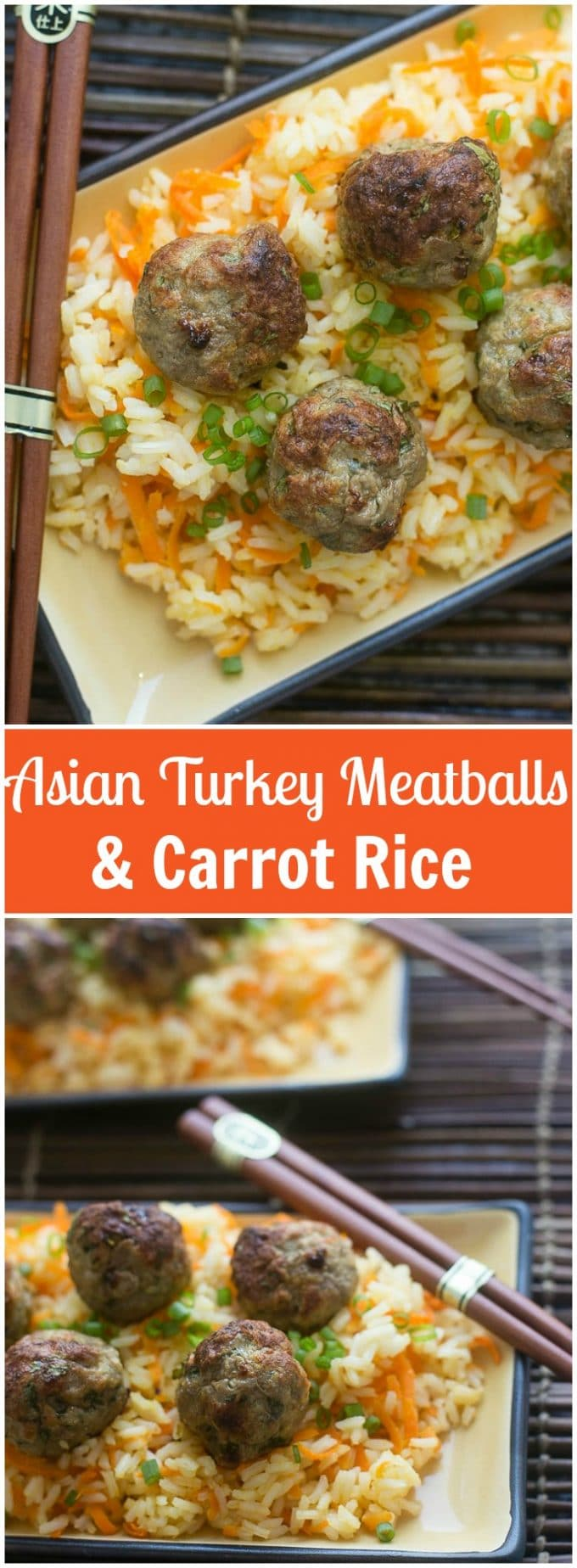 This recipe for asian turkey meatballs with carrot rice is a quick ...