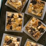 These Rocky Ledge Bars are the BEST cookie bar full of three kinds of chocolate, marshmallows and toffee.