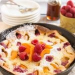 Apricot Raspberry Dutch Baby Pancake