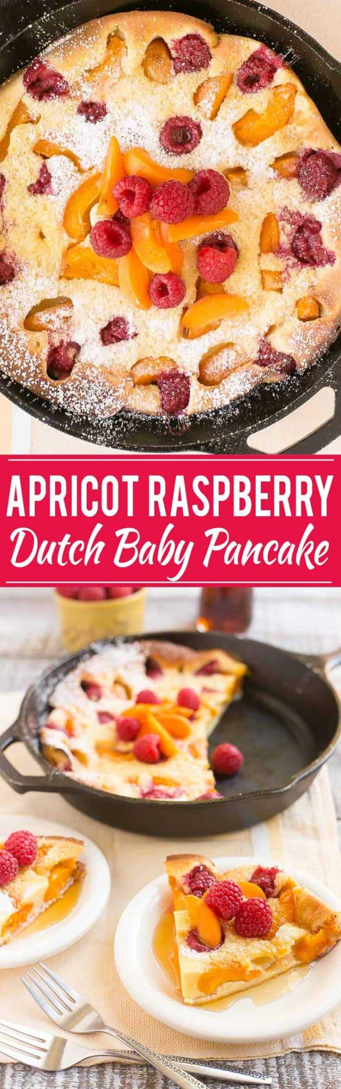 Apricot Raspberry Dutch Baby Pancake Recipe | Easy Dutch Baby Pancake | Best Dutch Baby Pancake | Giant Oven Pancake | Easy Oven Pancake | Apricot Raspberry Pancake