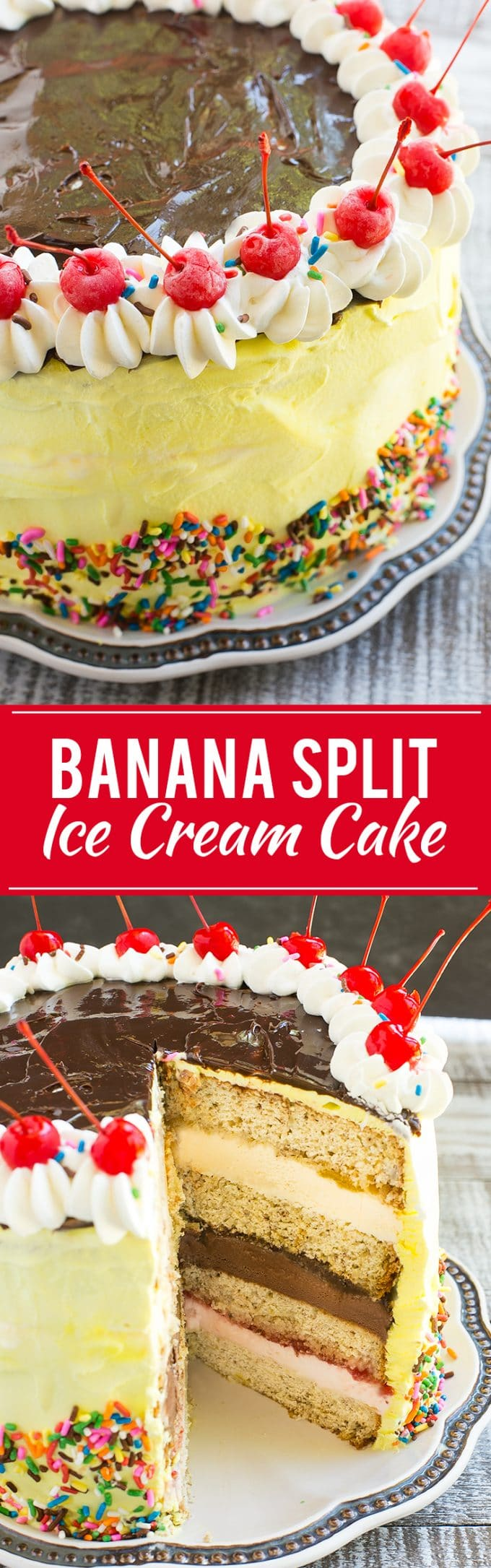Banana Split Ice Cream Cake Recipe | Banana Ice Cream Cake | Banana Split Ice Cream | Best Ice Cream Cake