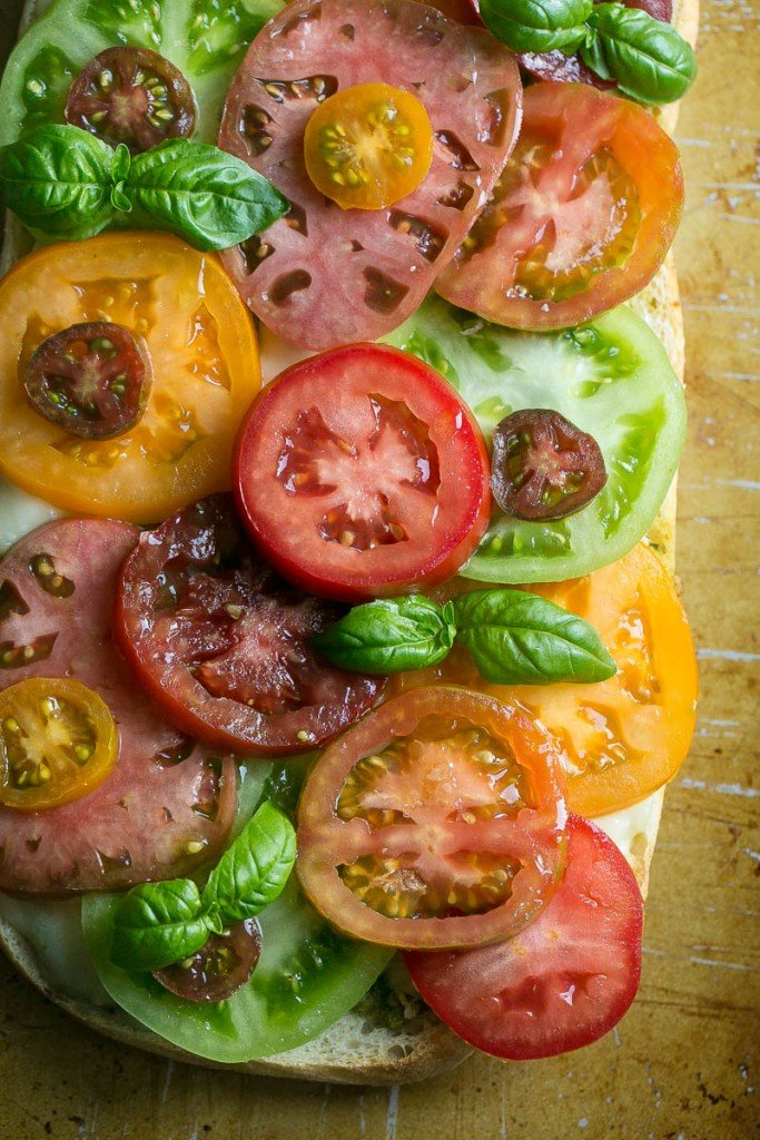 Heirloom Tomato Caprese Toast - Rustic bread topped with pesto, fresh ...