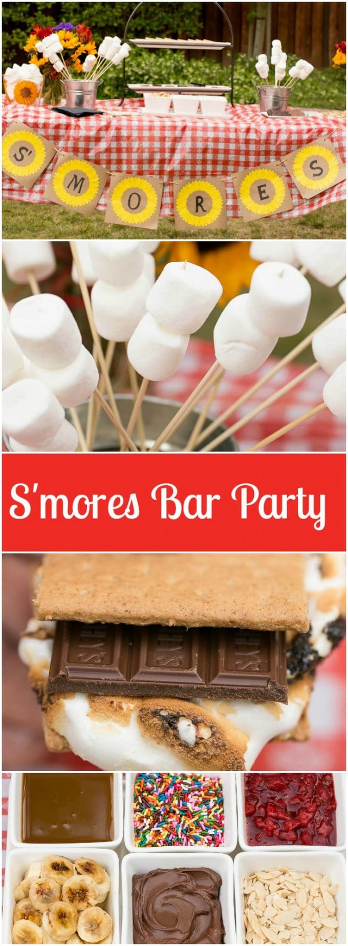 How to throw an amazing summer S'mores bar party plus a recipe for strawberry banana S'mores. #LetsMakeSmores #ad