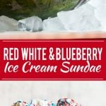 This recipe for a Red White and Blueberry Sundae is a watermelon loaded with three types of ice cream, homemade strawberry and blueberry sauces, marshmallow topping and the whole thing is finished off with whipped cream, sprinkles and chocolate covered strawberries. It's the perfect show stopper for the 4th of July!