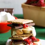 How to throw an amazing summer S'mores bar party plus a recipe for strawberry banana s'mores.