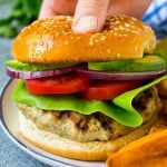 The best turkey burgers topped with lettuce, tomato, red onion and avocado.