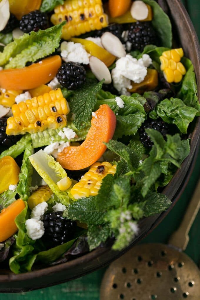 Salad with apricots and corn.