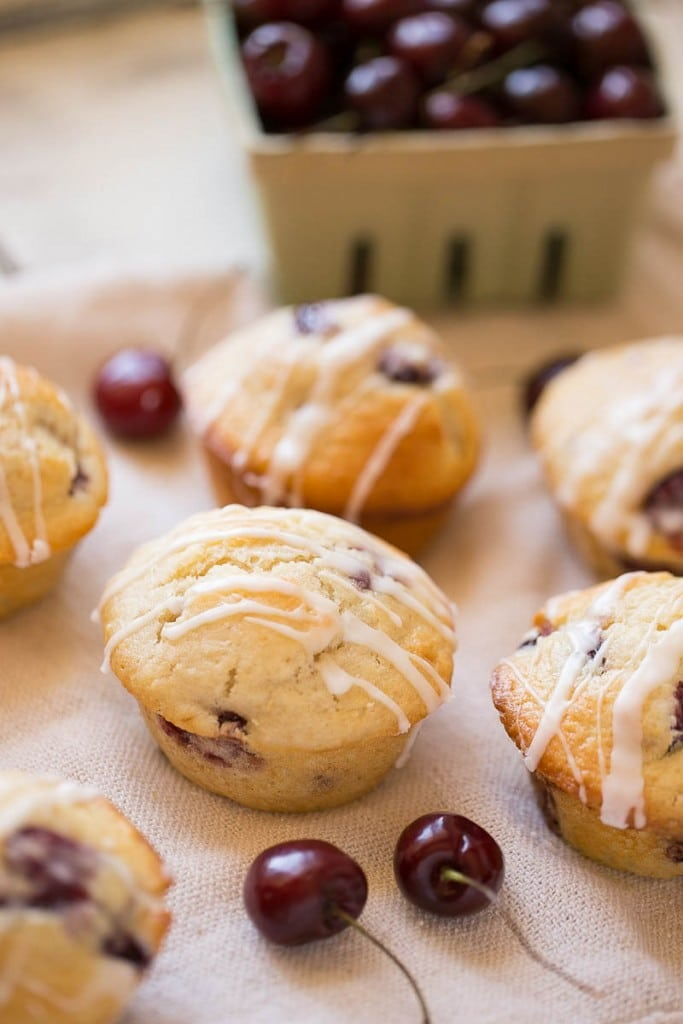 ... muffins, studded with fresh cherries and topped with a sweet vanilla
