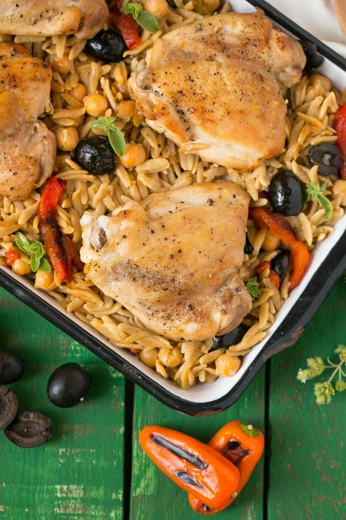 This Mediterranean Chicken with Olives and Orzo is a healthy meal that's made in just one pot. #CalOlivesMedRecipe