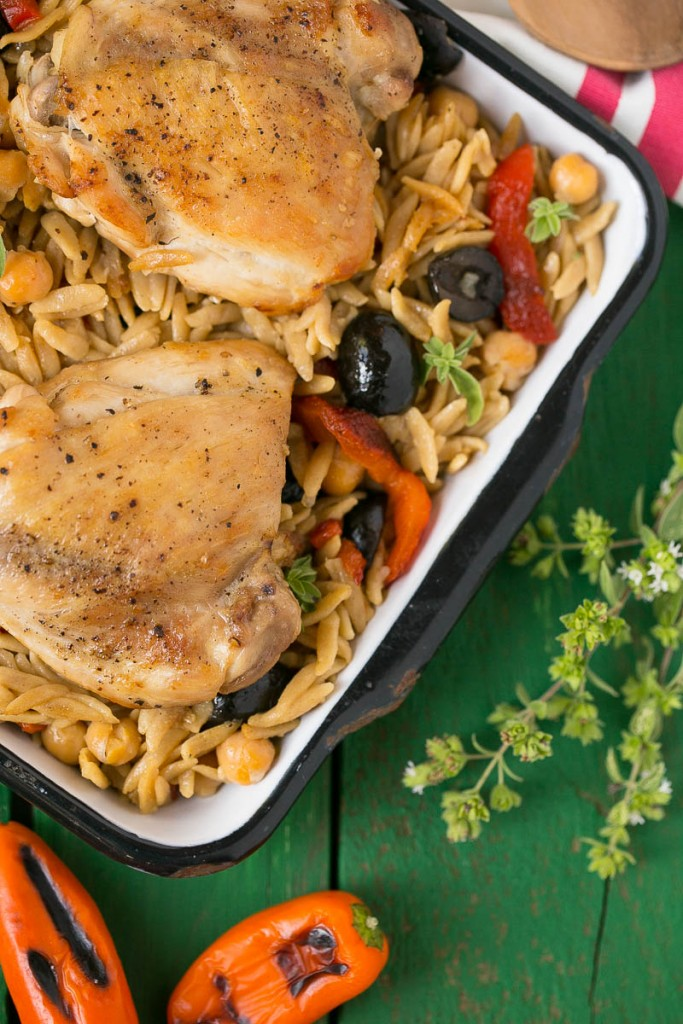 This Mediterranean Chicken with Olives and Orzo is a healthy meal that's made in just one pot.