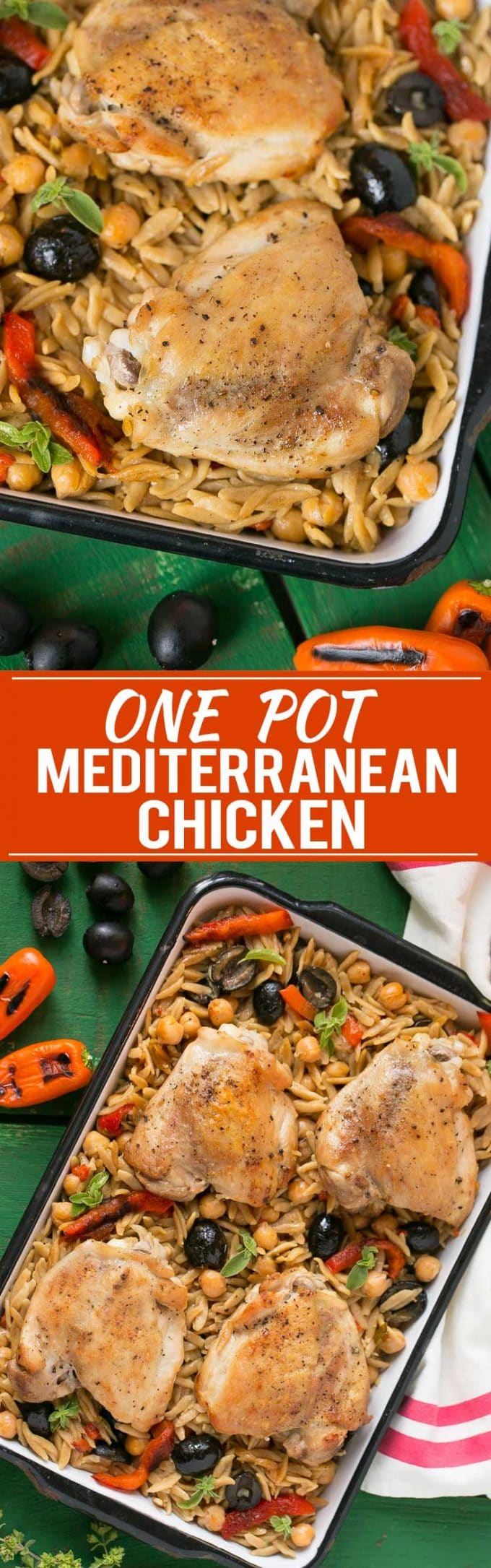 This Mediterranean Chicken with Olives and Orzo is a healthy meal that's made in just one pot. Ad