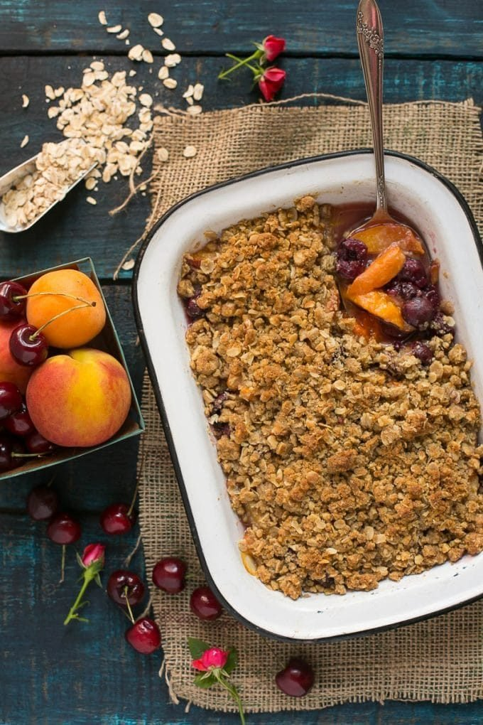 A pan of cherry and peach crisp.