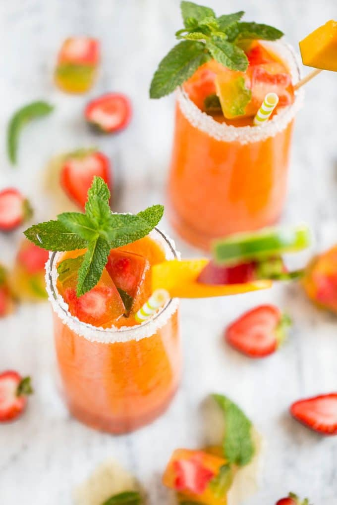 This recipe for strawberry mango agua fresca is a light and refreshing fruit drink that only takes 15 minutes to make, it's the perfect way to cool off on a hot day! Ad