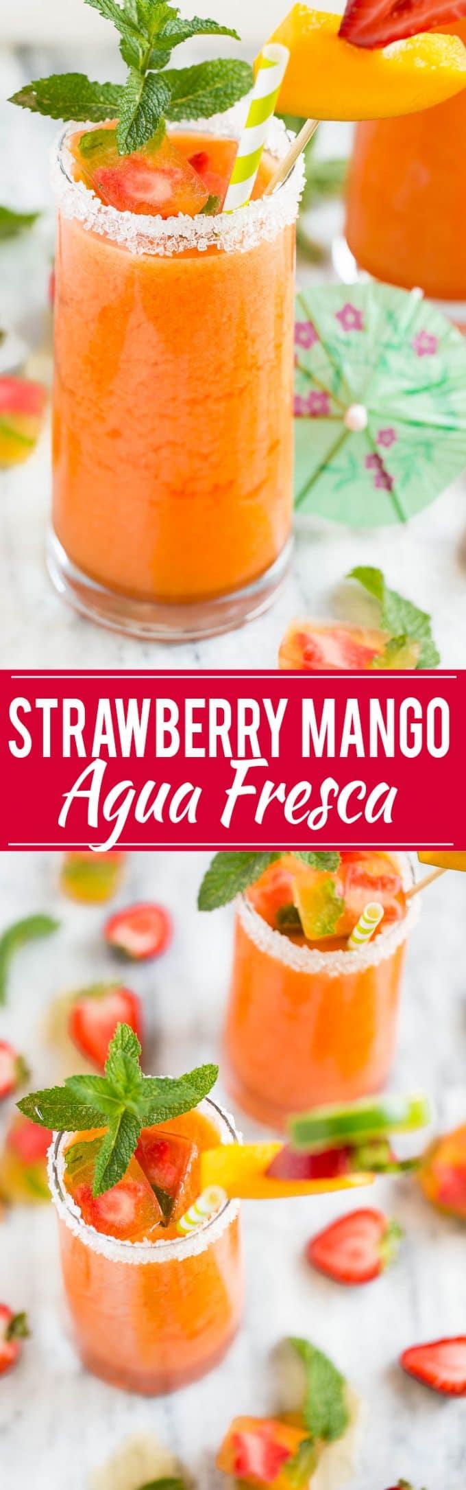 Strawberry Mango Agua Fresca | Strawberry Agua Fresca | Mango Agua Fresca | Summer Agua Fresca | Best Agua Fresca | Easy Agua Fresca