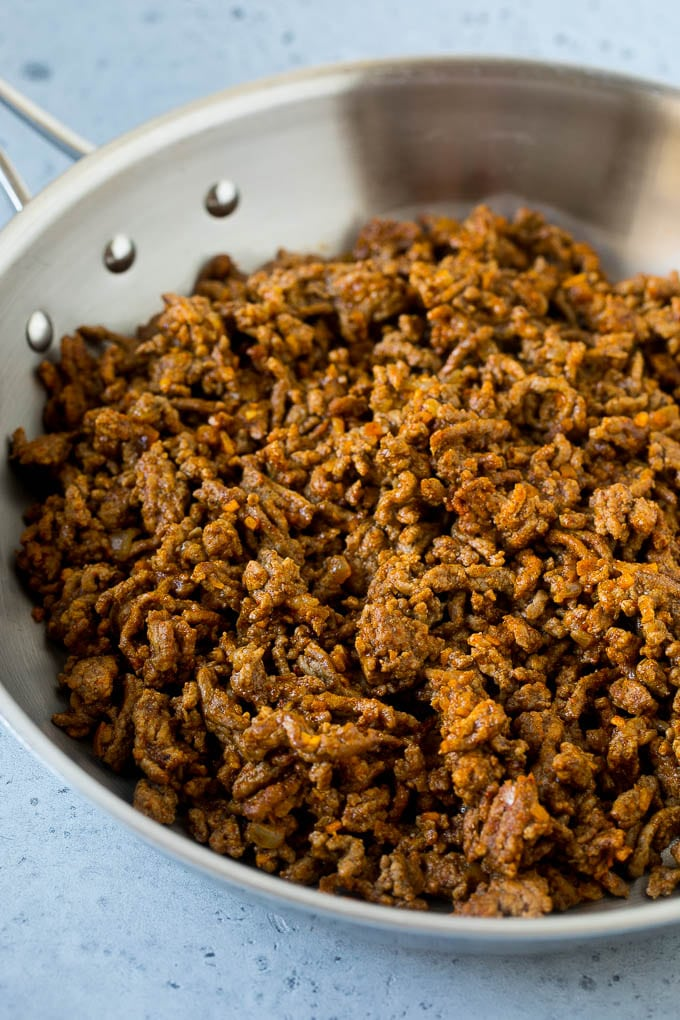 A pan of taco meat made with ground beef.
