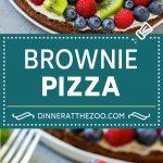 Brownie Pizza Recipe   Fruit Pizza   Dessert Pizza #brownie #pizza #chocolate #fruit #dessert #dinneratthezoo