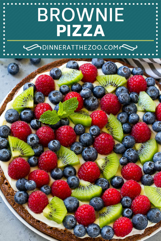 Brownie Pizza Recipe | Fruit Pizza | Dessert Pizza #brownie #pizza #chocolate #fruit #dessert #dinneratthezoo