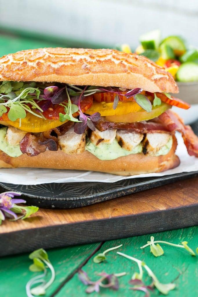 club sandwich includes lemon herb grilled chicken, homemade avocado ...