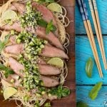 Soy Marinated Flank Steak with Cucumber Relish