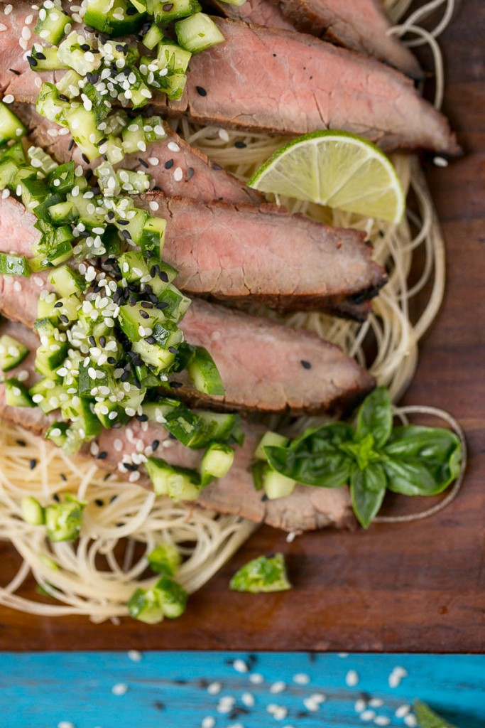 Soy marinated flank steak, grilled to perfection, topped with a ...