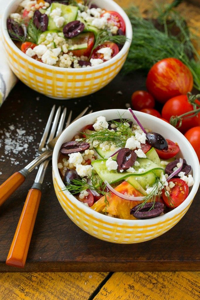 Greek couscous bowls are a light and healthy main course or side dish.