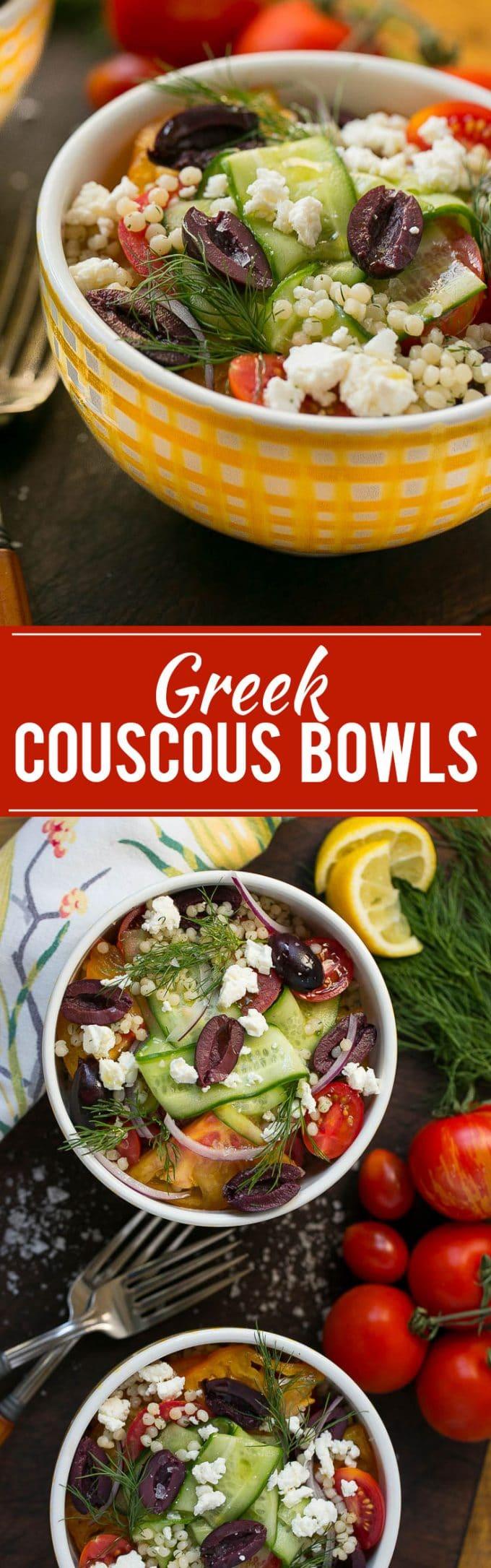 Greek Couscous Bowl Recipe | Greek Couscous | Greek Couscous Salad | Greek Salad Couscous