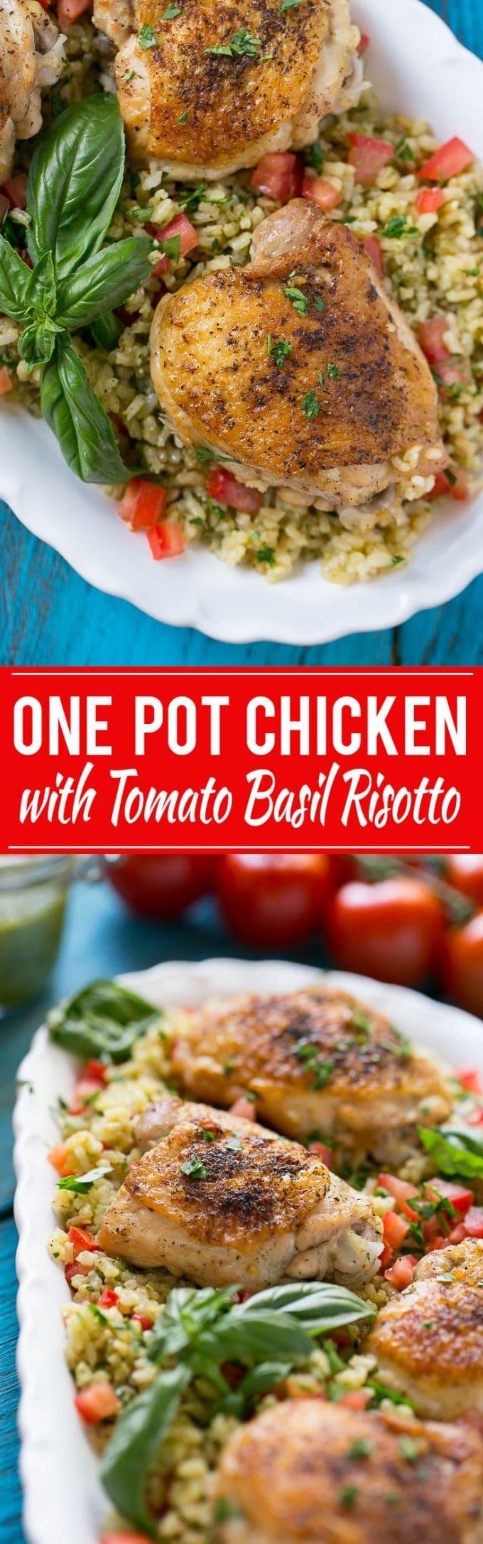 One Pot Chicken with Tomato Basil Risotto Recipe | One Pot Chicken and Risotto | Tomato Risotto | One Pot Chicken Risotto