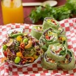 Pack a healthy and delicious back-to-school lunch with rainbow veggie pinwheels and sesame lime quinoa salad.