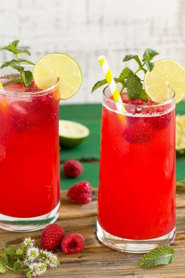 This sparkling raspberry limeade has just 4 ingredients and is a super refreshing drink for a hot day.