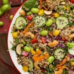 This sesame lime quinoa salad is packed with protein and can be made ahead of time, making it a perfect side dish or lunch option.