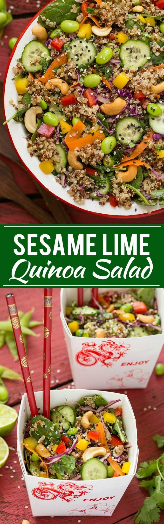 This sesame lime quinoa salad is packed with protein and can be made ahead of time, making it a perfect side dish or lunch option. Ad